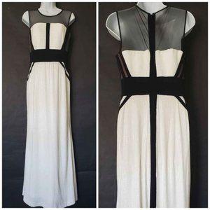 Calvin Klein Sequin White Black Colorblock Gown